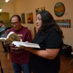 Ernest Siva and Carolyn Horseman, the nephew and grandniece of Dorothy Ramon, read this story in both Serrano and English during the 2016 Native Voices Poetry Festival. Photo by Carlos Puma for the Dorothy Ramon Learning Center